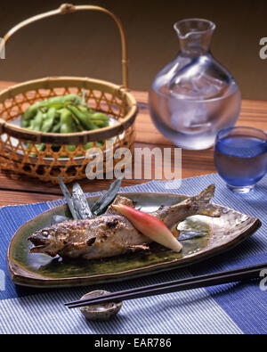 Japanese style grilled fish - Stock Image