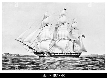 East India man Earl of Balcarras launched Bombay 1815 Largest ship owned by H.E.I Company sold 1834 used up to 1860's - Stock Image