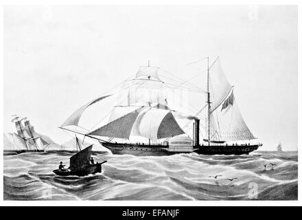 Steam Frigate Memnon. Ship of Hon. East India Company Navy 1841 Wrecked Cape Guardafui 1843 - Stock Image
