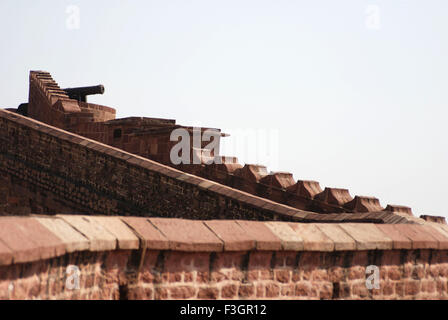 Cannon at top of fort ; Jodhpur ; Rajasthan ; India - Stock Image