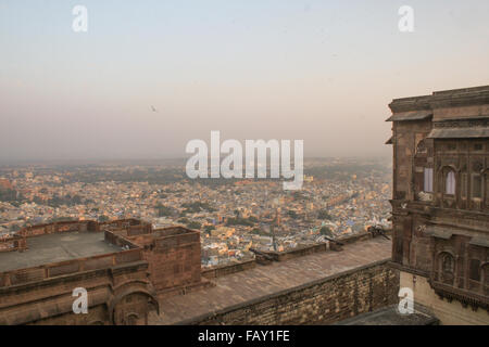 30th November 2015, Jodhpur, Rajastan, India. View from Mehrangarh Fort overlooking Jodhpur. Exploring the delights - Stock Image