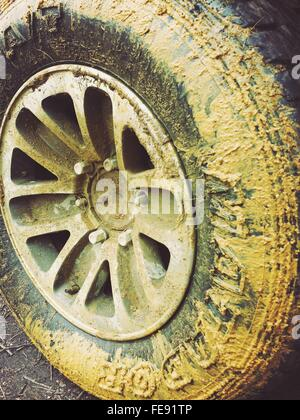 closeup of muddy tire stock image