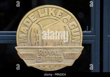 Royal Enfield symbol on door handle, Delhi, India - Stock Image