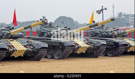 T-72M Main Battle Tanks of the Indian Army, Kolkata, West Bengal, India - Stock Image