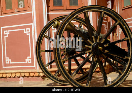 Old Cannon in City Palace,Jaipur,Rajasthan,India - Stock Image