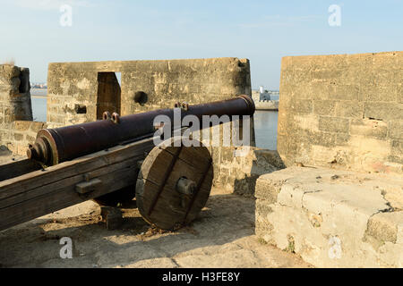 Cannon on walls of the Portuguese fort in Diu city in the Gujarat state in India - Stock Image