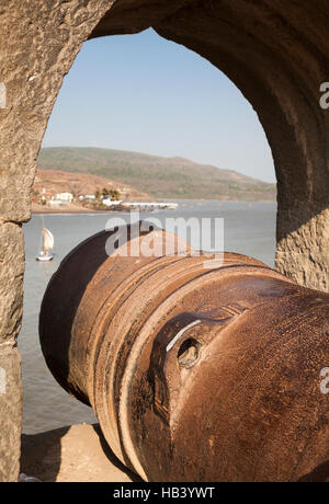 Cannon at impregnable fort of Murud-Janjira The fort is situated on an island just off the coastal village of Murud, - Stock Image