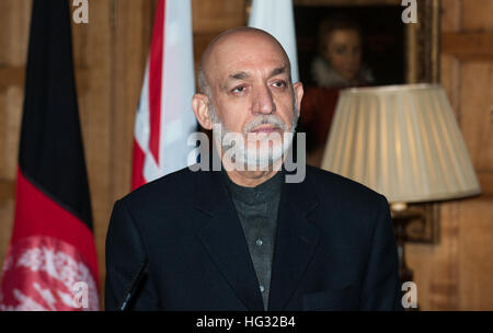 president hamid karzai of afghanistan speaking following a trilateral meeting with prime minister david cameron