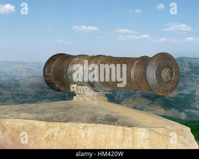 Cannon at Pratapgad, Maharasthra, India - Stock Image