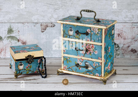 Beuatiful Jewellery Boxes Decoupaged In A Vintage Design On A Shabby Chic  Background   Stock Image