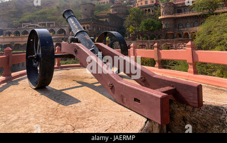 Vintage Cannon placed in defence in a fort - Stock Image